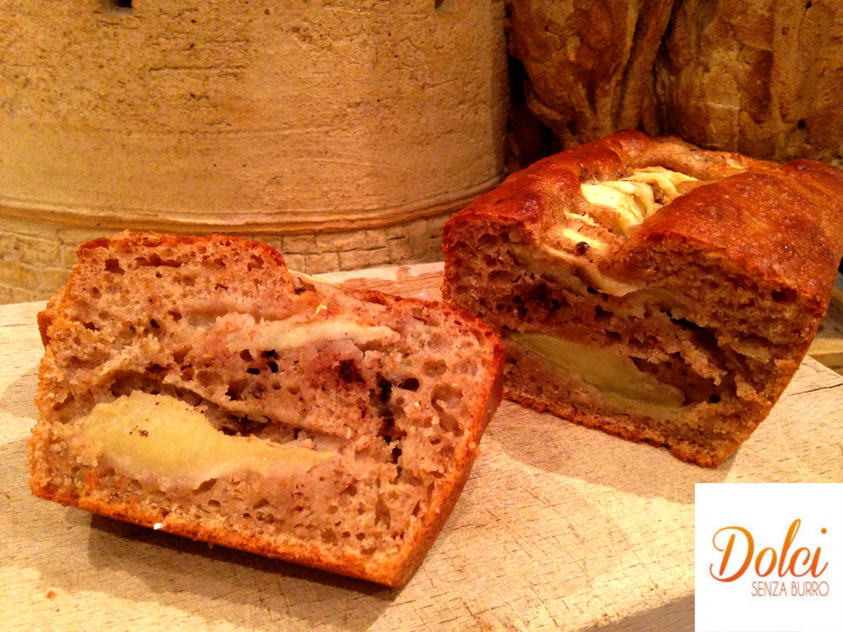 plumcake senza burro integrale alle pere, un dolce light di dolci senza burro