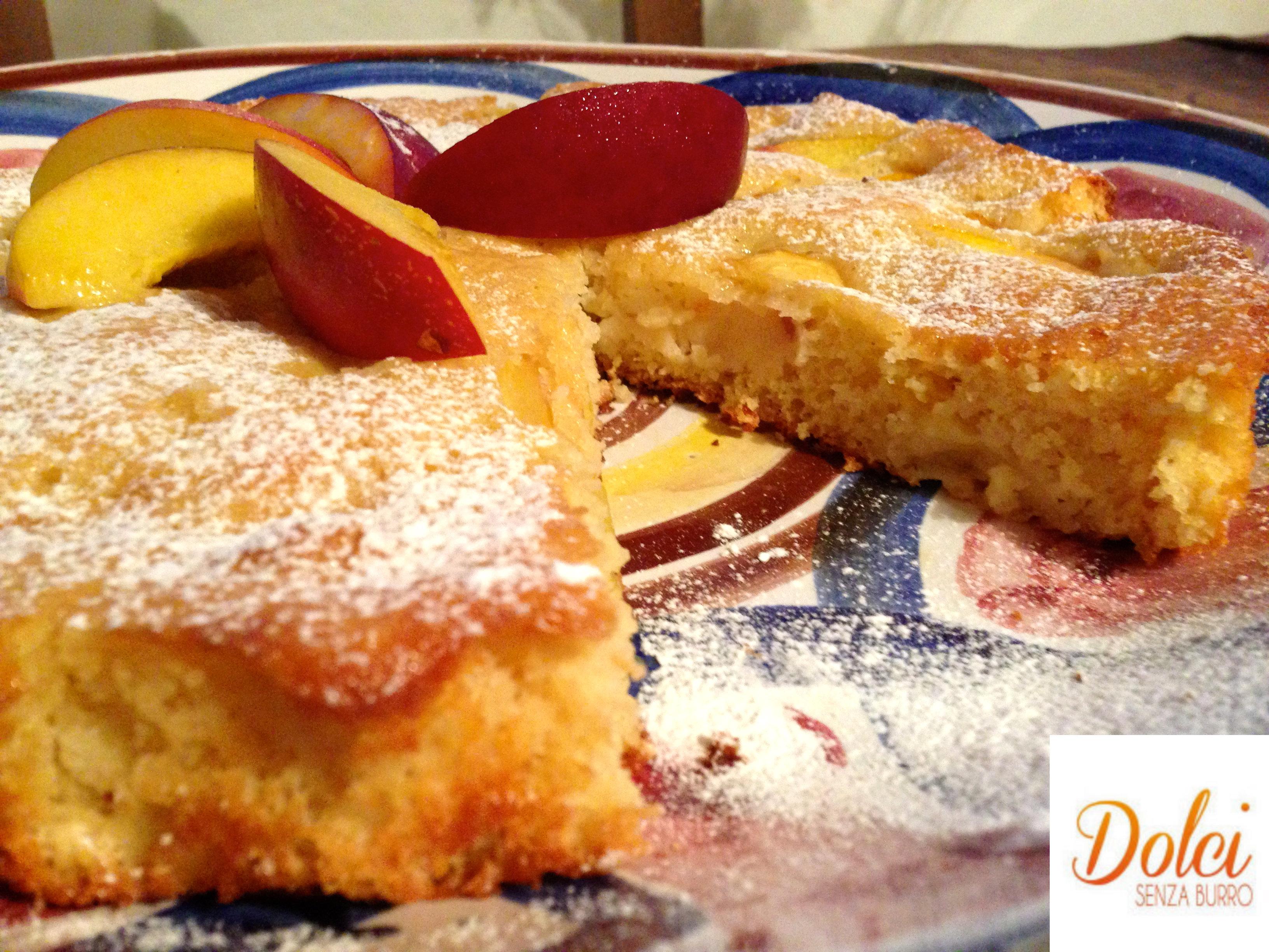 torta di pesche senza burro, la torta light di dolci senza burro