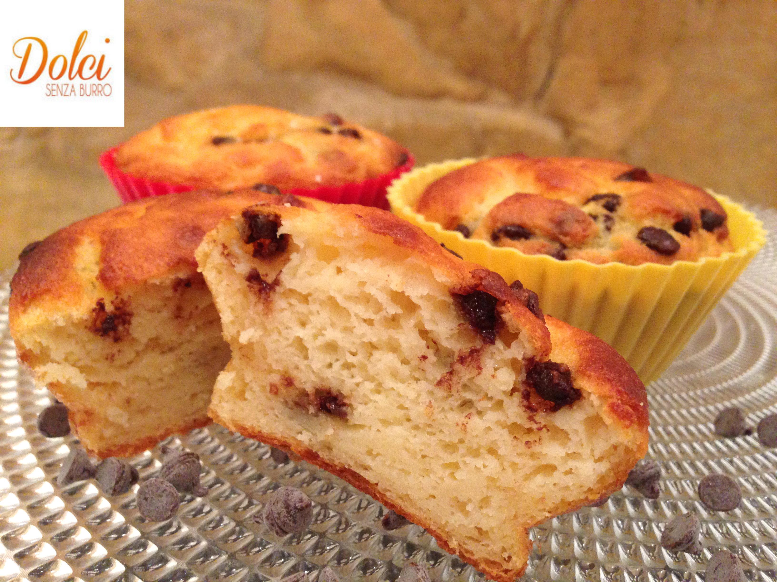 Muffin Senza Burro con Gocce di Cioccolato, i muffin goloso e senza lattosio di Dolci Senza Burro