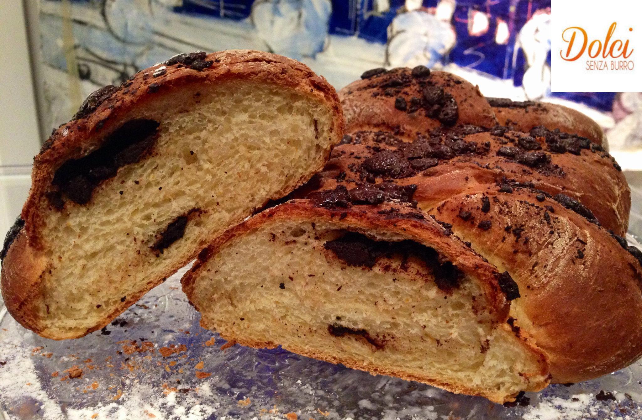 Treccia Dolce Senza Burro al Cioccolato, un pan brioche light senza lattosio di Dolci Senza Burro