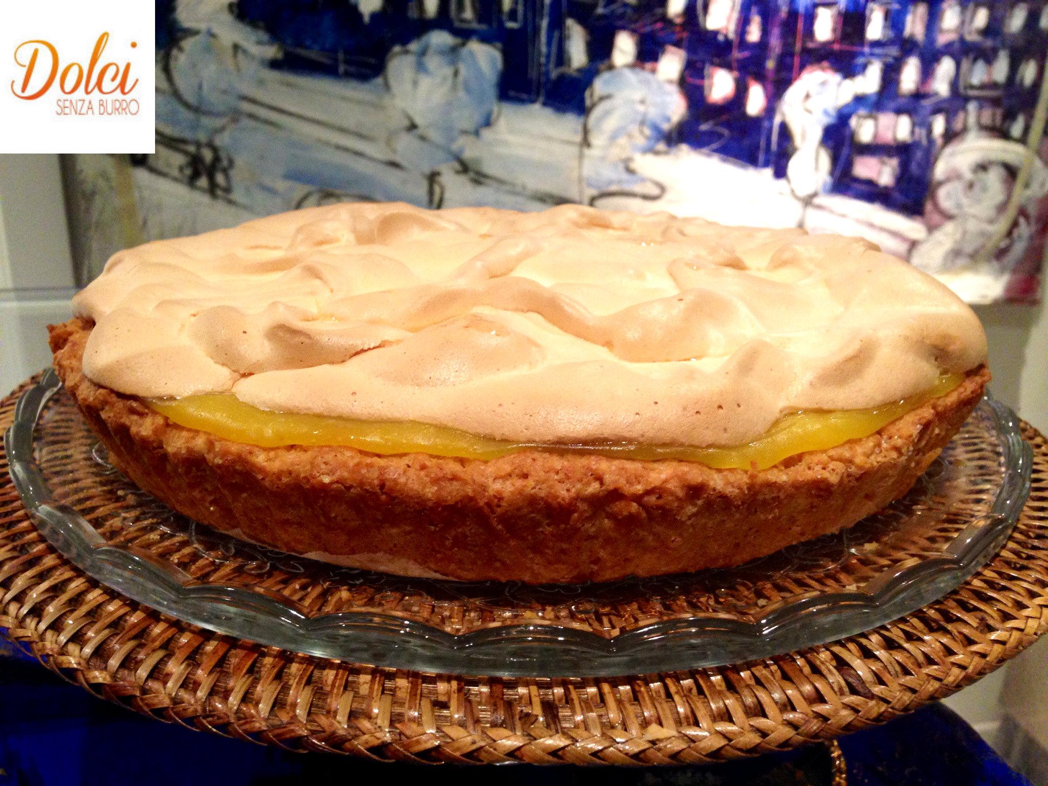 Crostata Meringata al Limone Senza burro, il dolce leggero goloso e delicato di Dolci Senza Burro.
