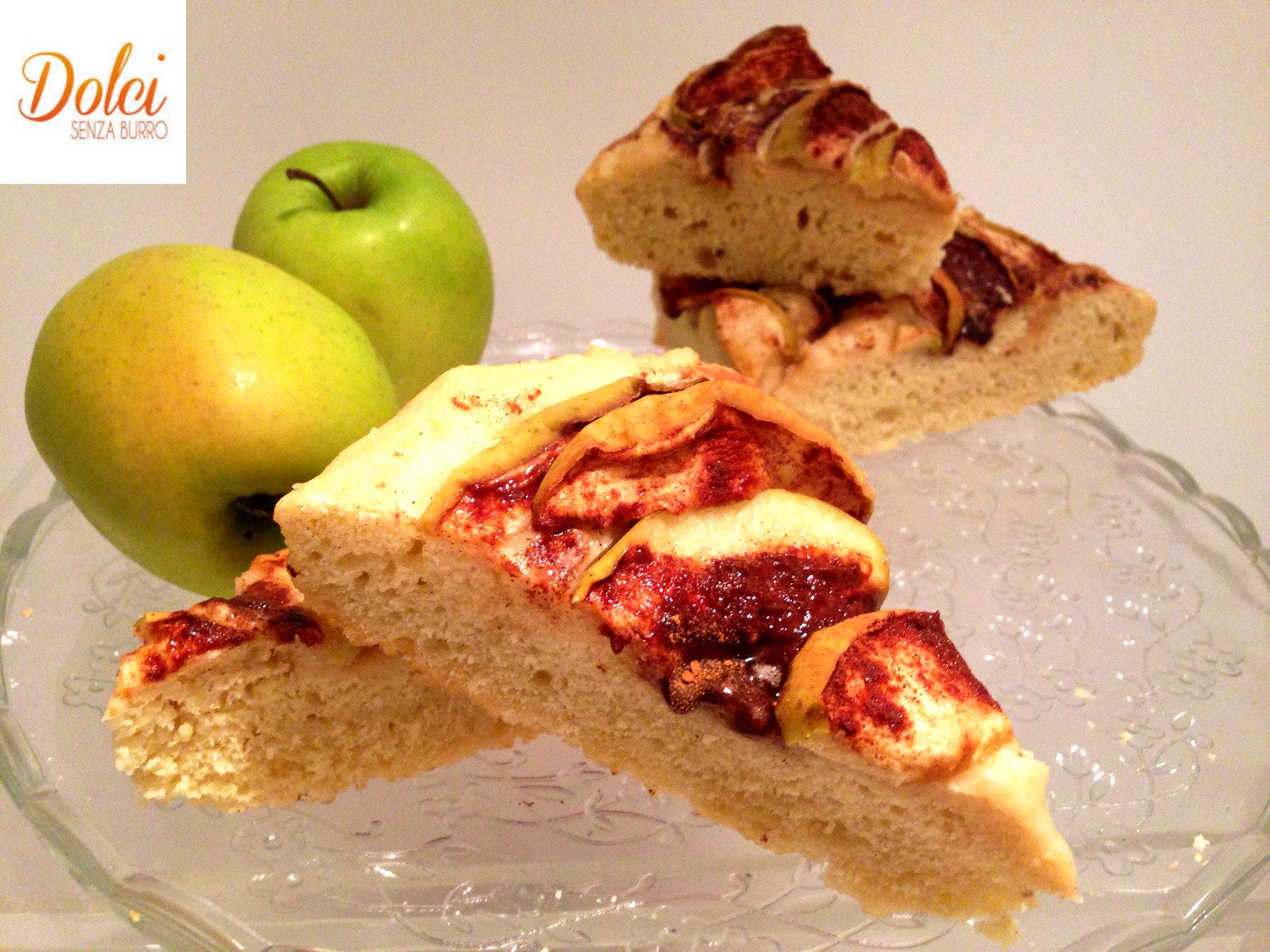 Focaccia dolce di mele al kamut senza burro, il dolce originale di dolci senza burro