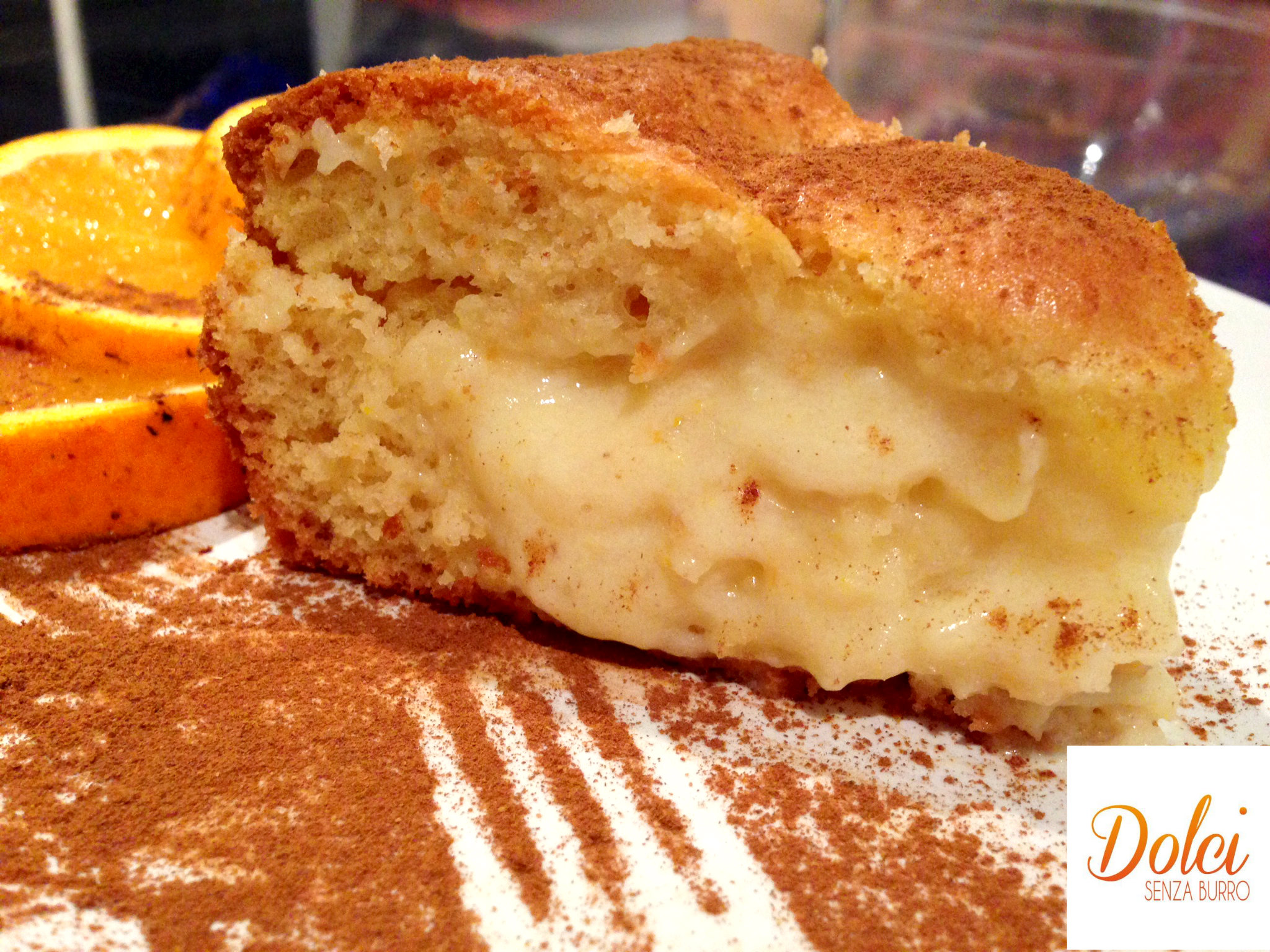 torta senza burro con crema all'arancia - Dolci Senza Burro