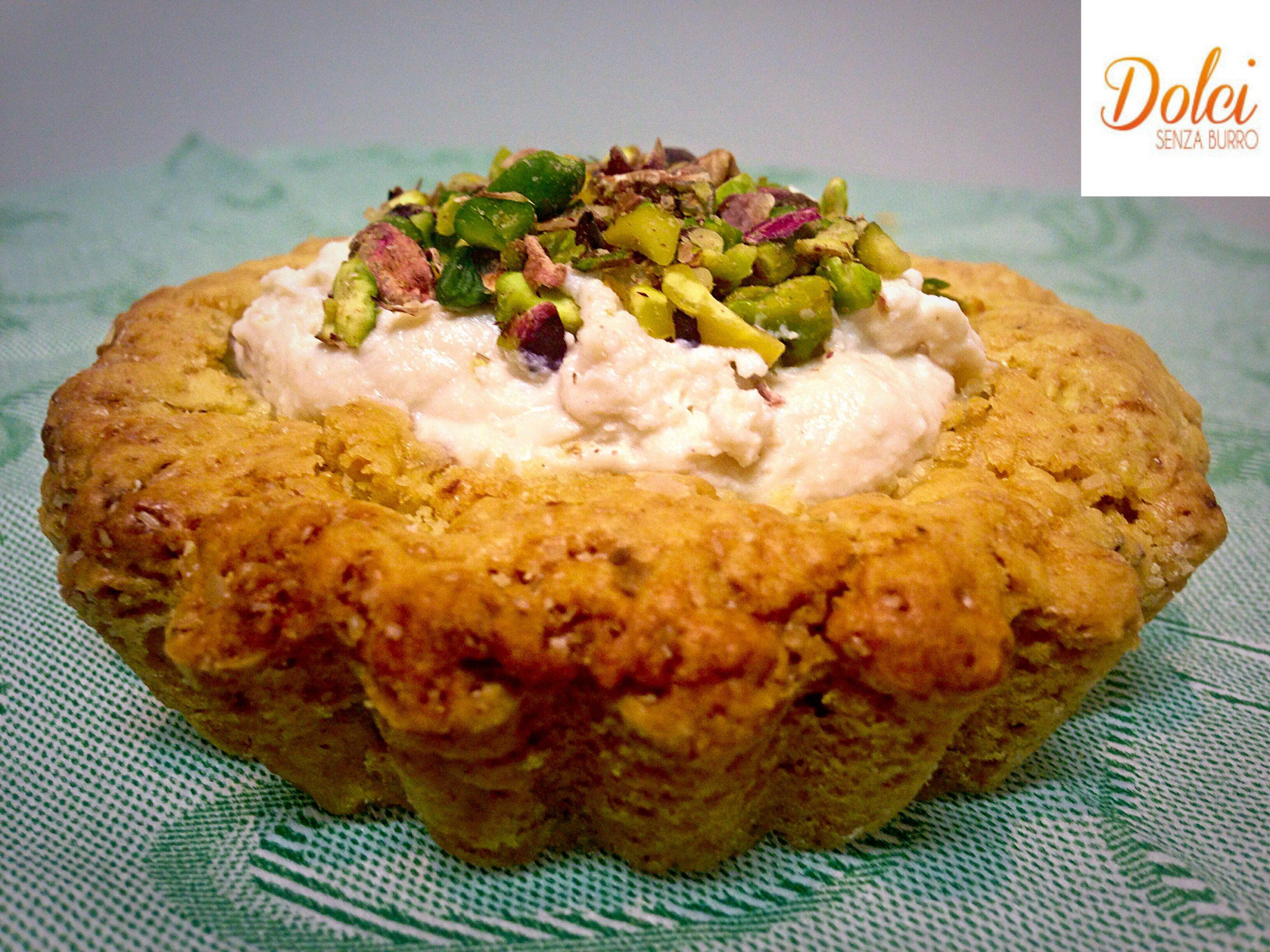 Tartellette di Pasta Frolla Senza Burro al Pistacchio e Ricotta il dolce goloso di dolci senza burro