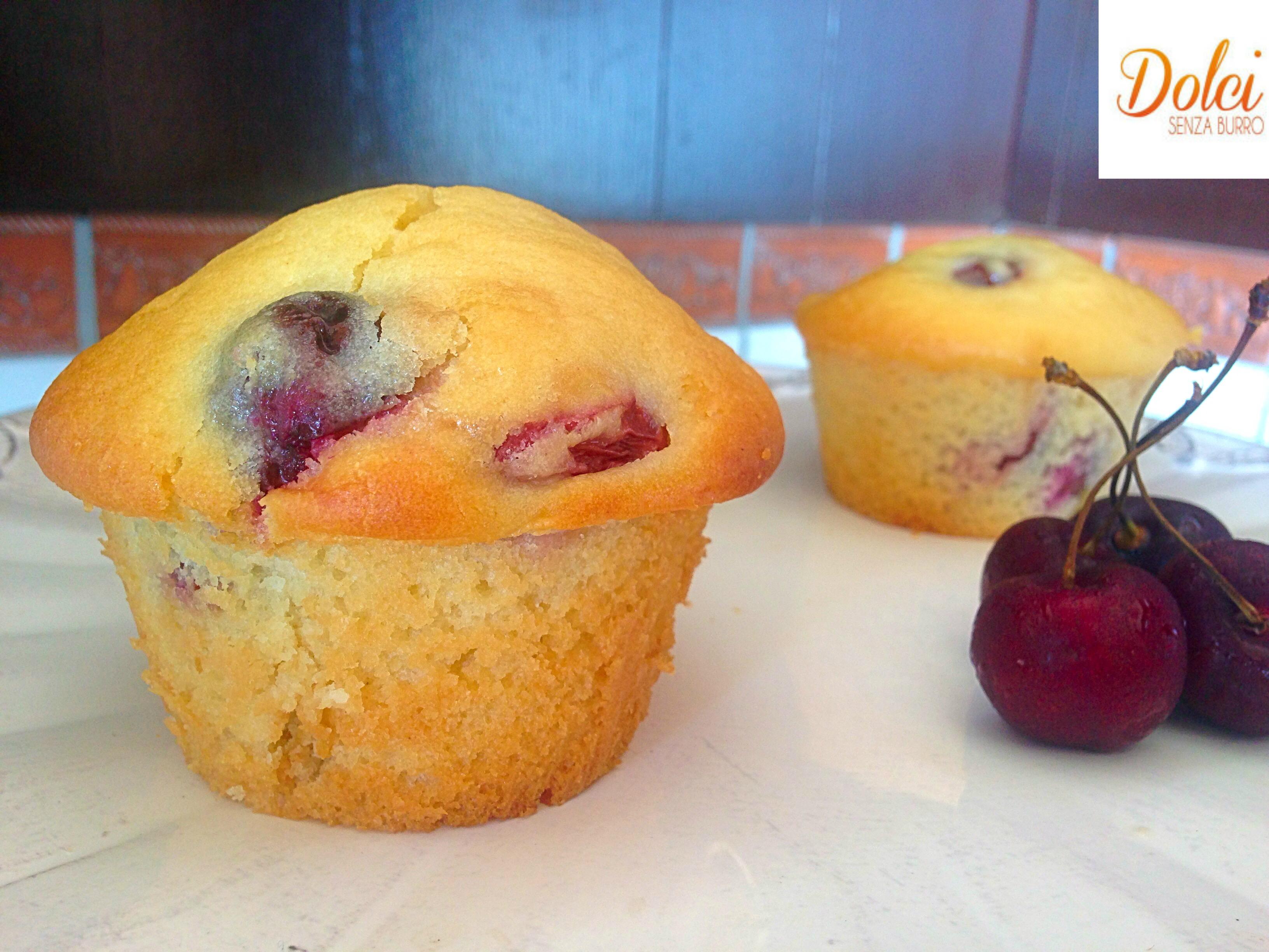 Muffin alle Ciliegie Senza Burro, il dolce goloso senza lattosio di dolci senza burro