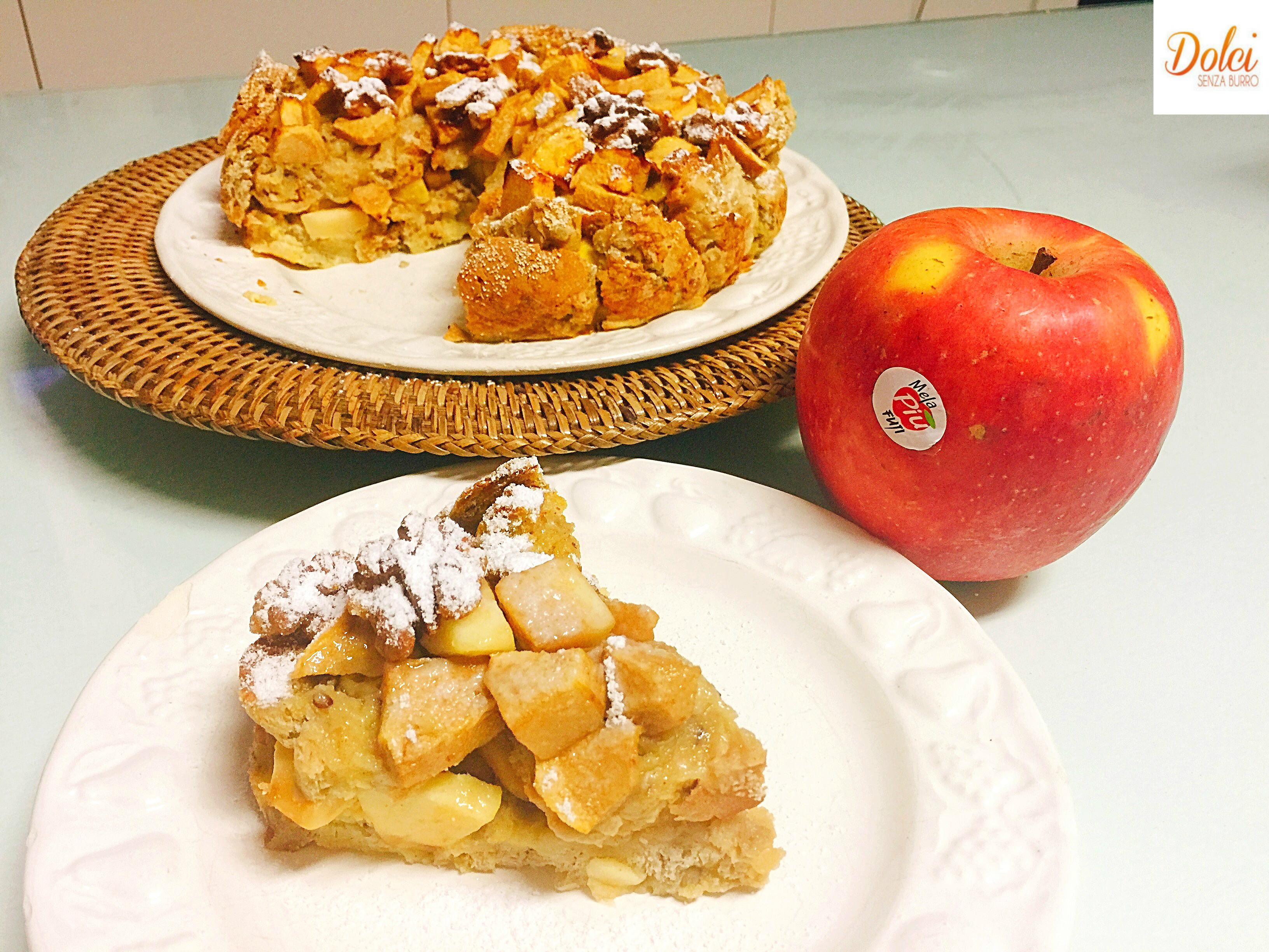 Torta di Pane e Mele Senza Burro , un dolce rustico goloso e leggero di dolci senza burro in collaborazione con MelaPiù