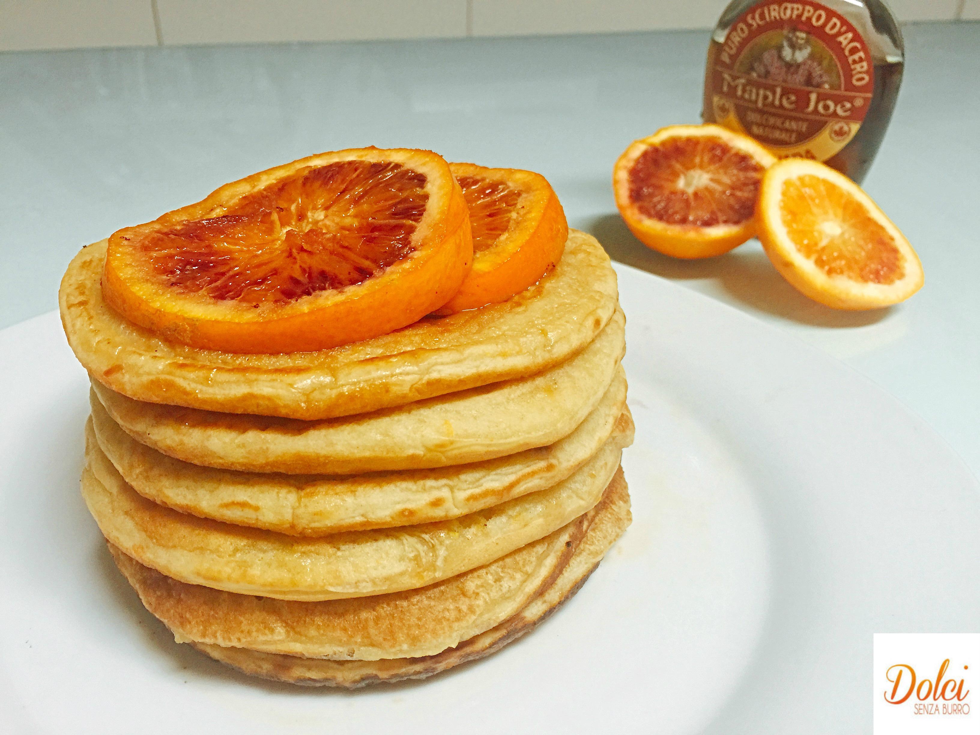 Pancake all'Arancia Senza Burro, super golosi leggeri e delicati di dolci senza burro