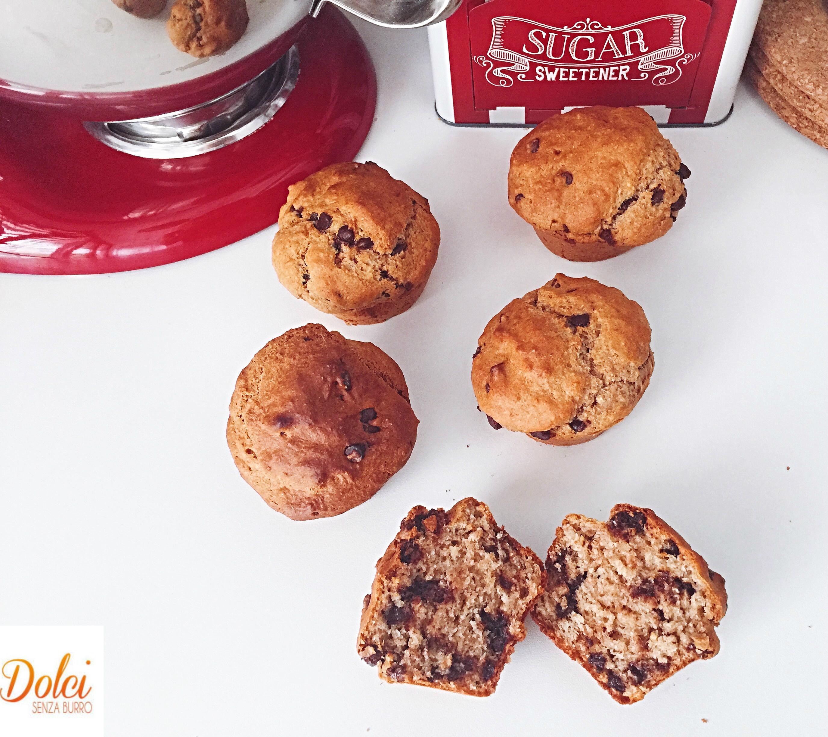 Muffin Ricotta e Cioccolato Senza Burro e Uova, buoni sani leggeri di dolci senza burro