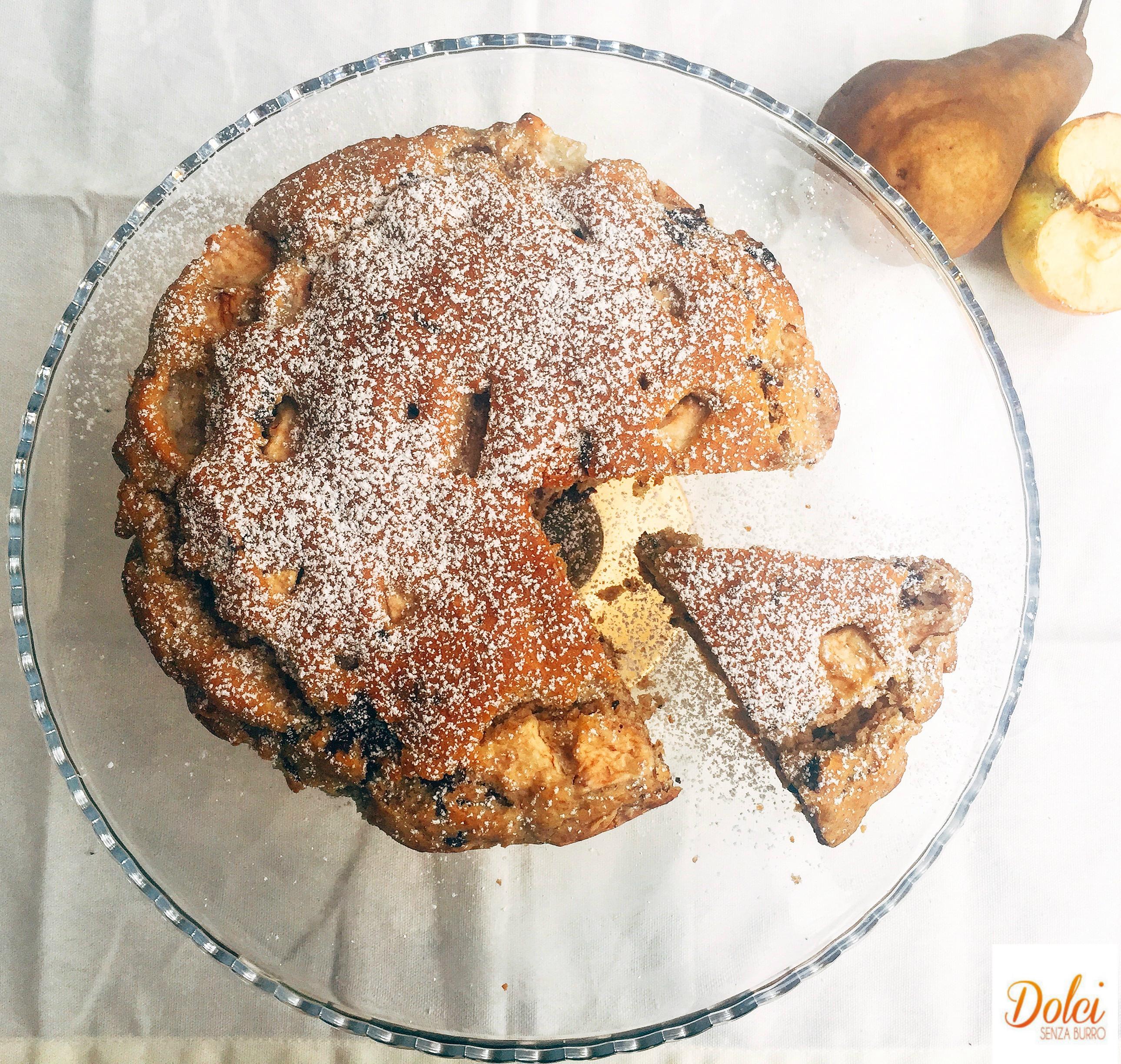 Torta Mele Pere e Cioccolato Senza Burro, un dolce goloso e sfizioso di dolci senza burro