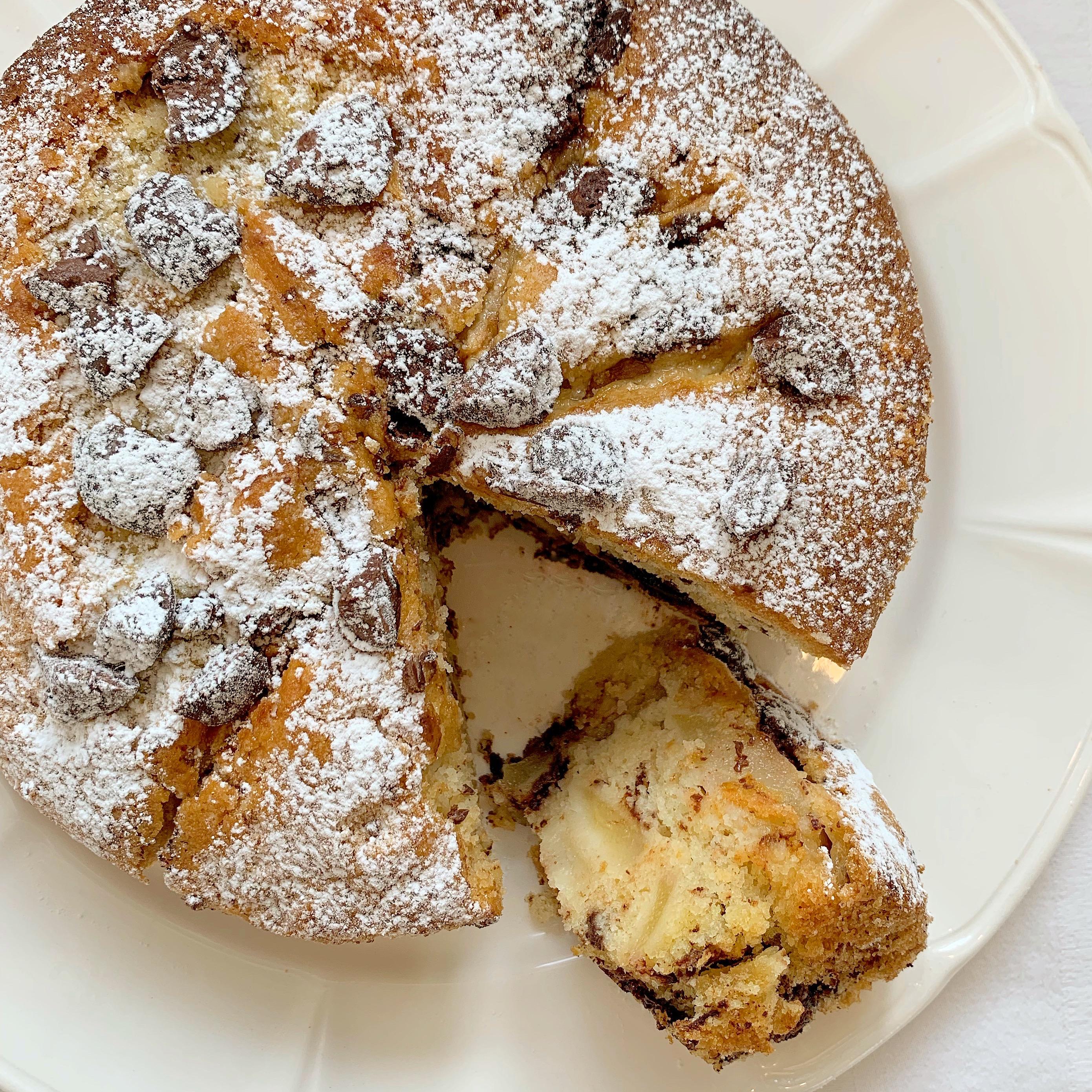 Torta Pere e Gocce di Cioccolato Vegan leggero e goloso di dolci senza burro!